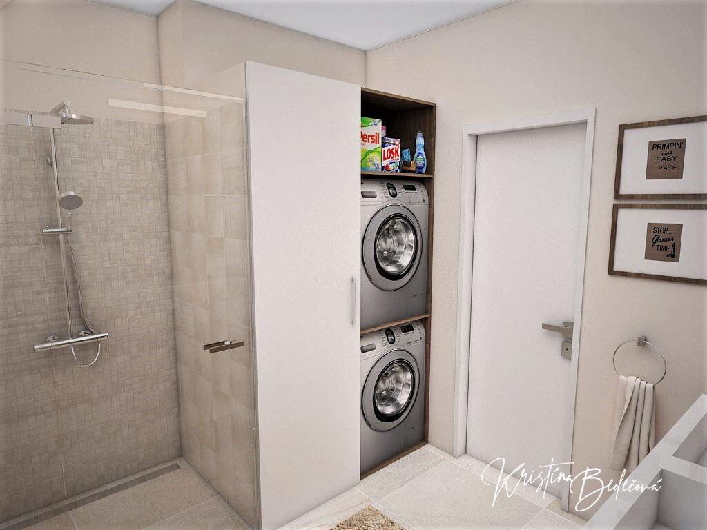 Návrh interiéru kúpeľne Stredozemie v kúpeľni, pohľad na práčku a sušičku keď sú otvorené