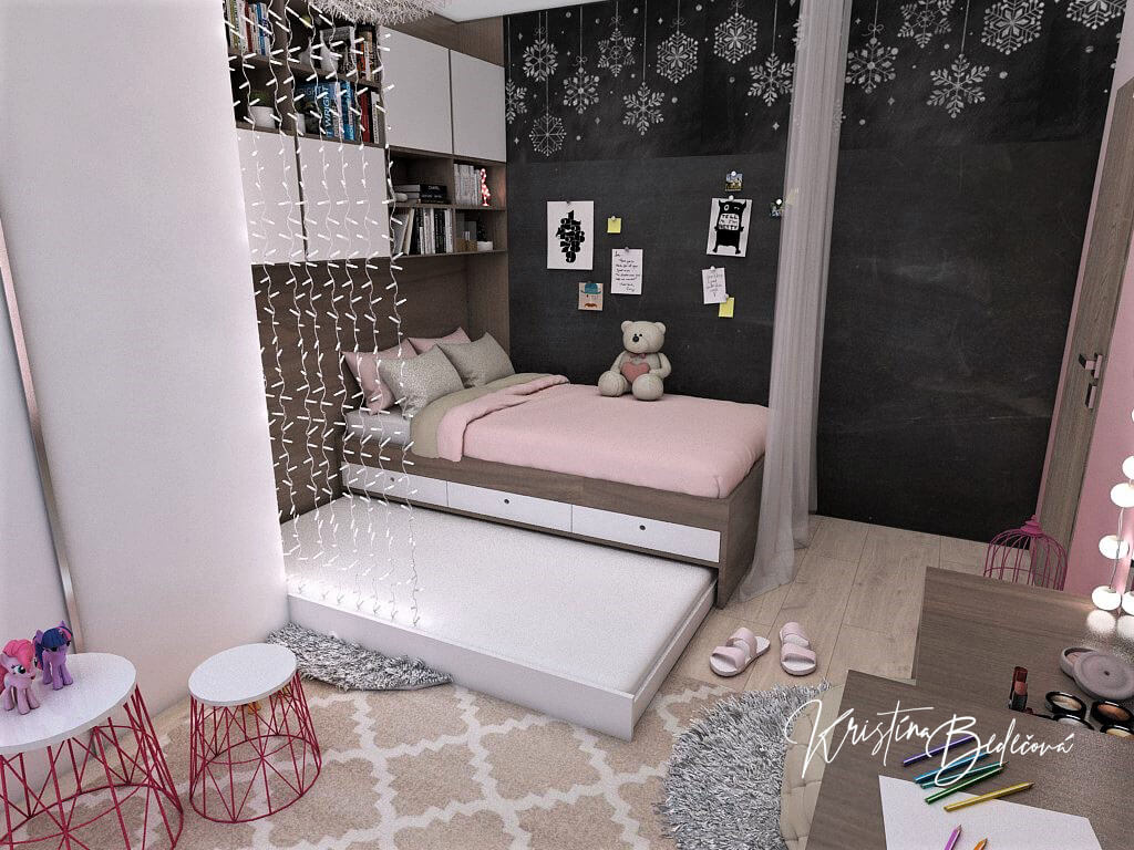 Návrh detskej izby Ombre stenám pristane -alternatíva, pohľad na zmenenú posteľ