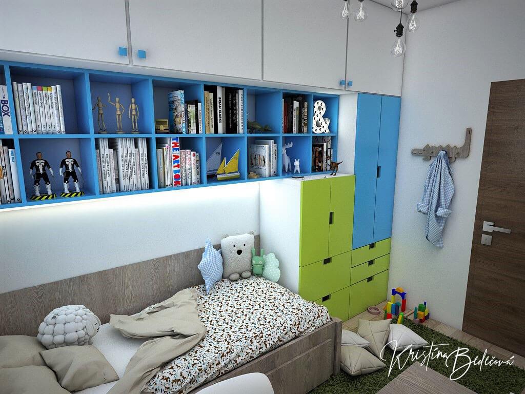 Návrh interiéru detskej Svet na dlani, pohľad na poličky nad posteľou