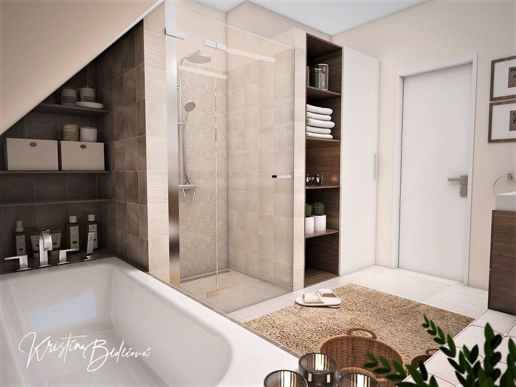 Návrh interiéru kúpeľne Stredozemie v kúpeľni, pohľad na sprchový kút a vstup