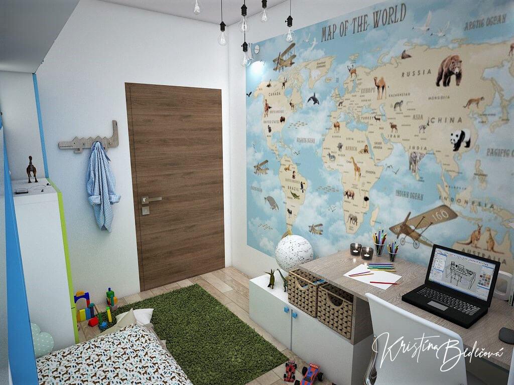 Návrh interiéru detskej Svet na dlani, pohľad na vstup do detskej