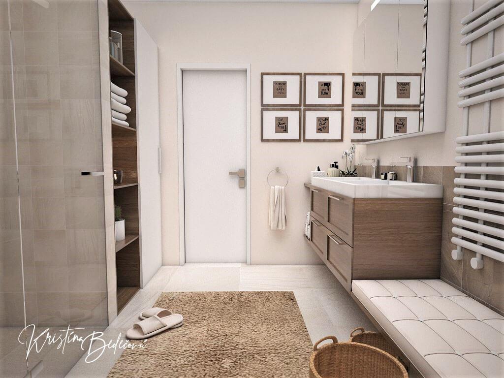 Návrh interiéru kúpeľne Stredozemie v kúpeľni, pohľad na vstup