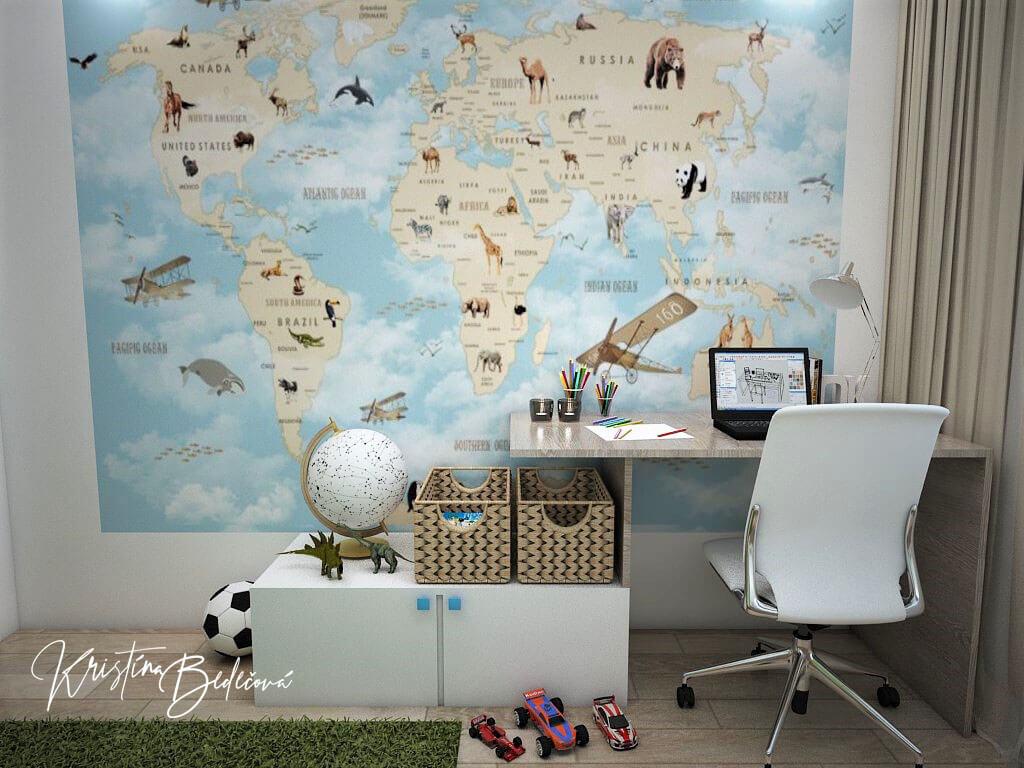 Návrh interiéru detskej Svet na dlani, pohľad na mapu sveta s divými zvieratami