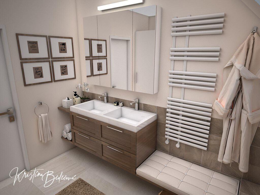 Návrh interiéru kúpeľne Stredozemie v kúpeľni, pohľad na umývadlá