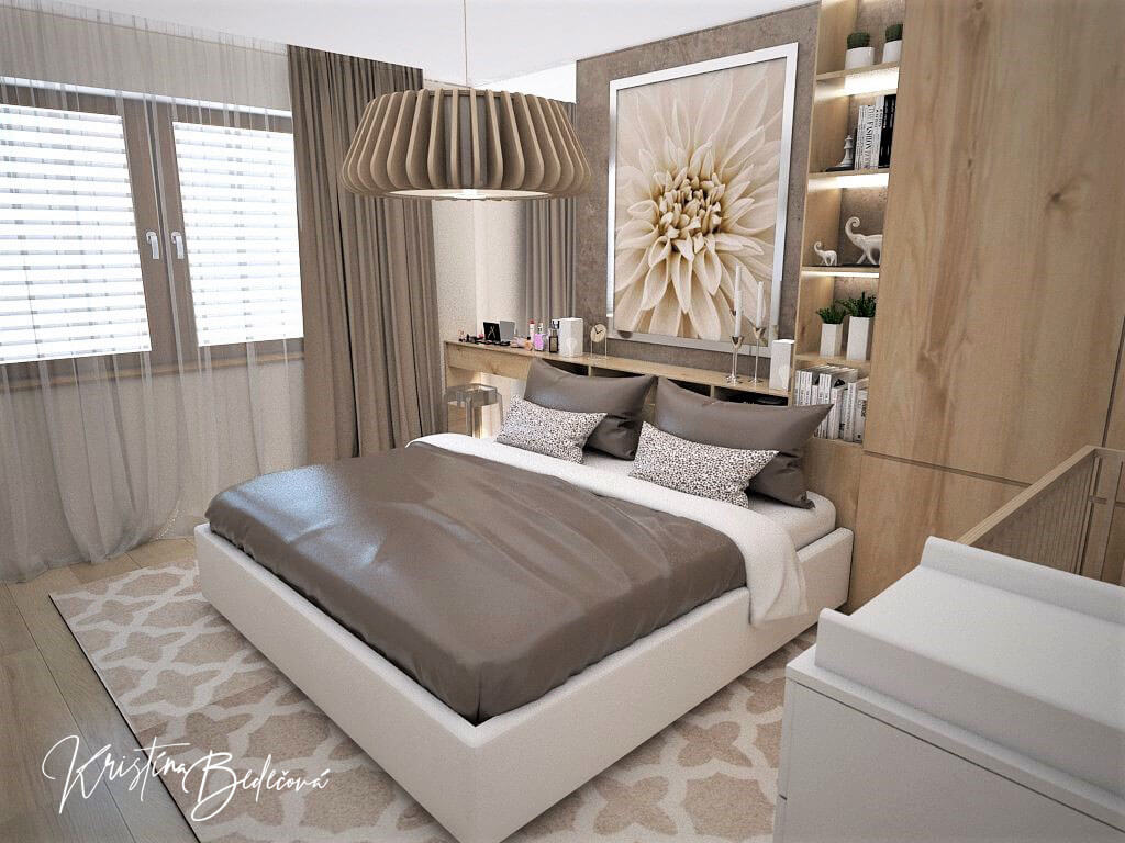 Návrh spálne Bábätko v spálni, pohľad na manželskú posteľ