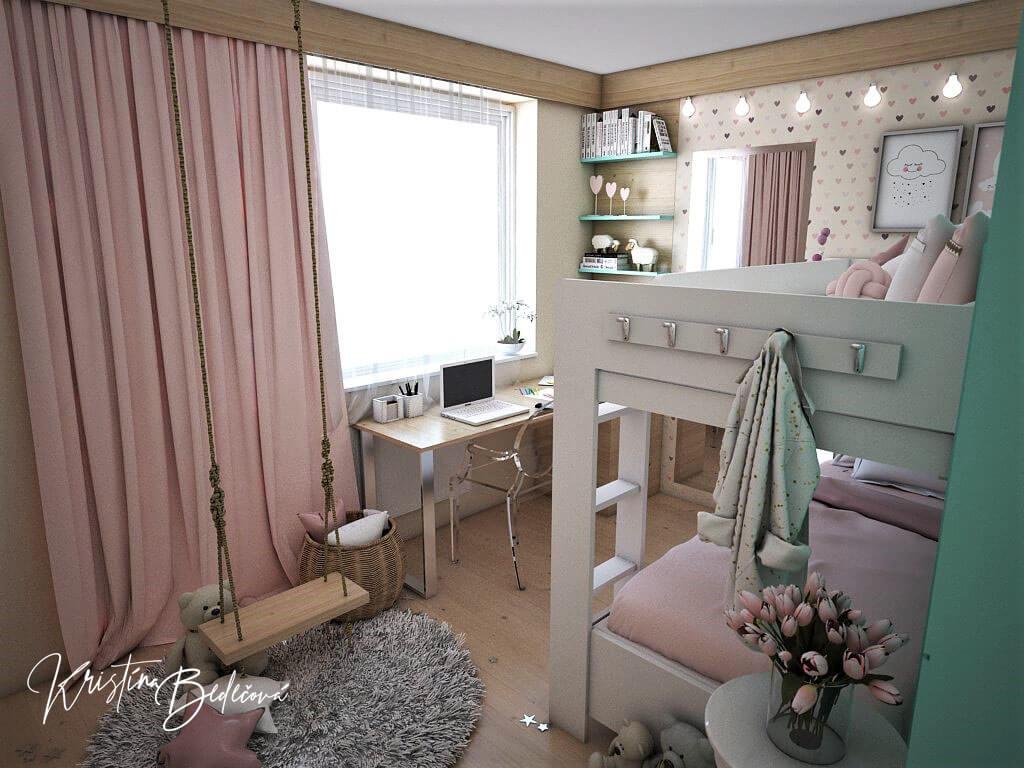 Návrh interiéru bytu Romantika v akcii, pohľad do detskej izby od dverí
