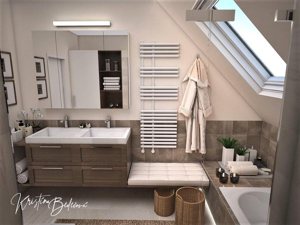 Návrh interiéru kúpeľne Stredozemie v kúpeľni, pohľad na umývadlá a radiátor