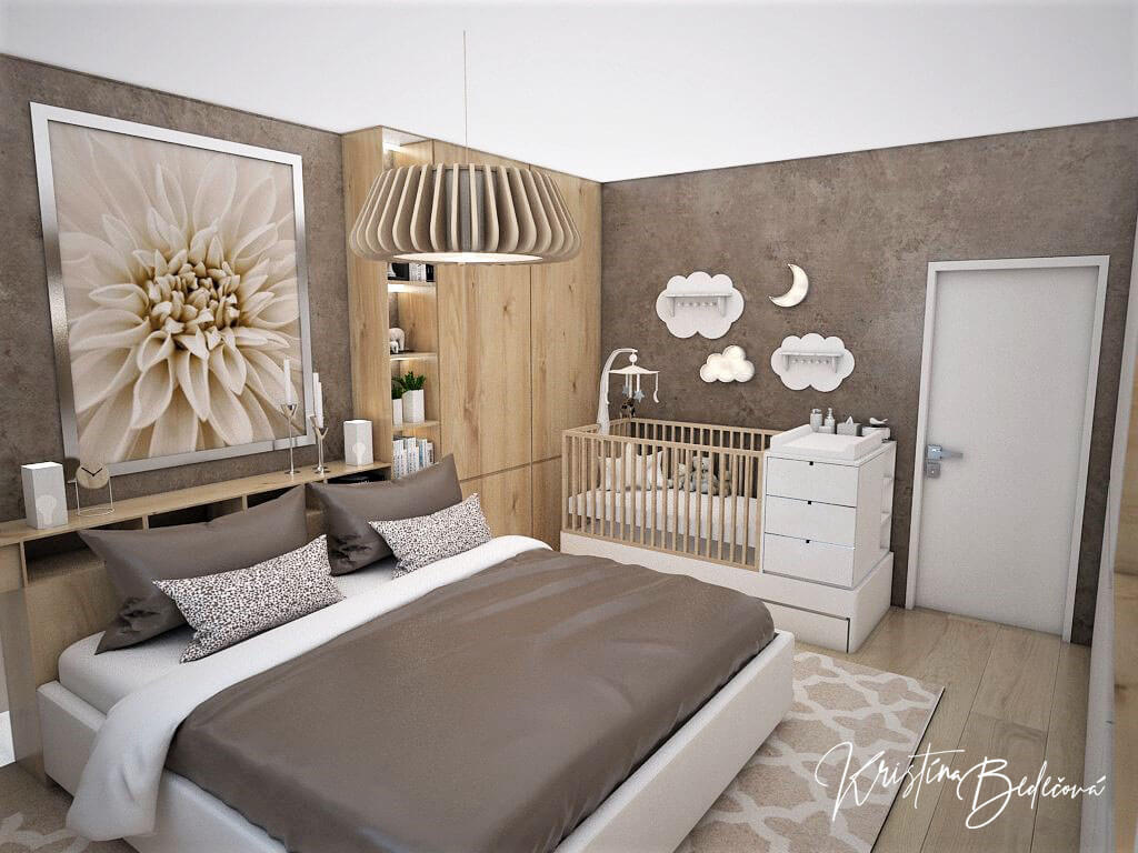 Návrh spálne Bábätko v spálni, pohľad na manželskú posteľ v spáľni