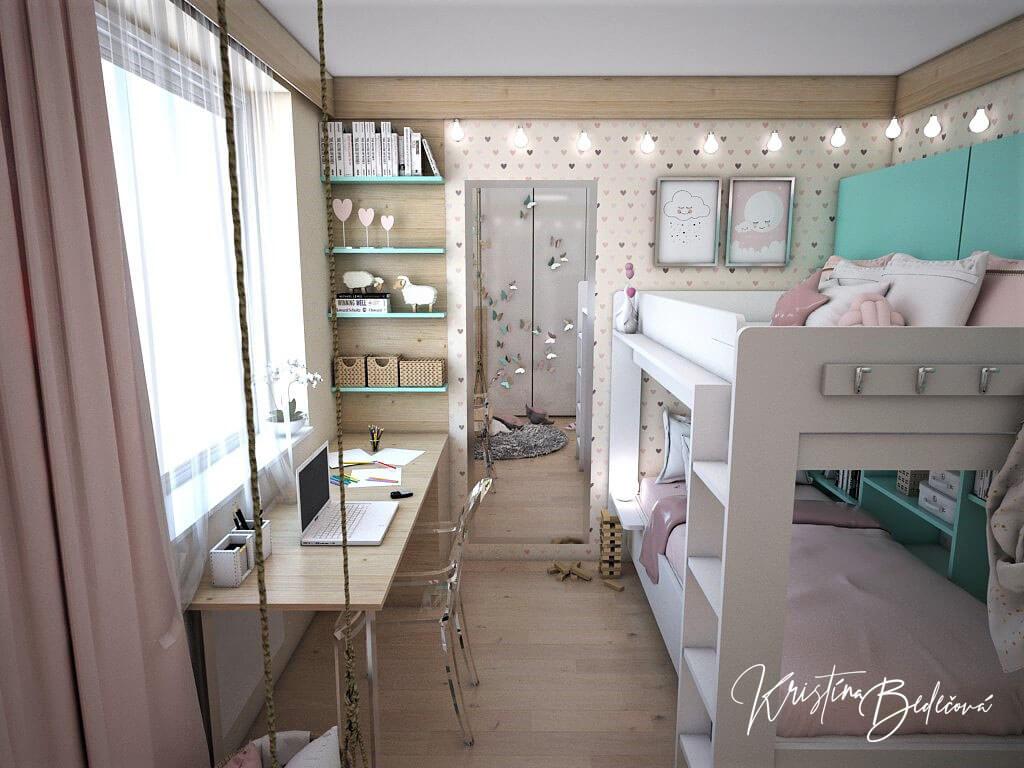 Návrh interiéru bytu Romantika v akcii, pohľad do detskej na stolík a zrkadlo