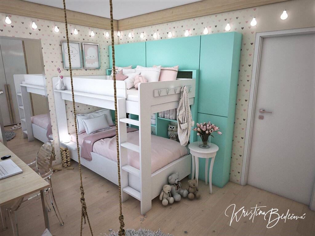 Návrh interiéru bytu Romantika v akcii, pohľad v detskej izbe cez hojdačku