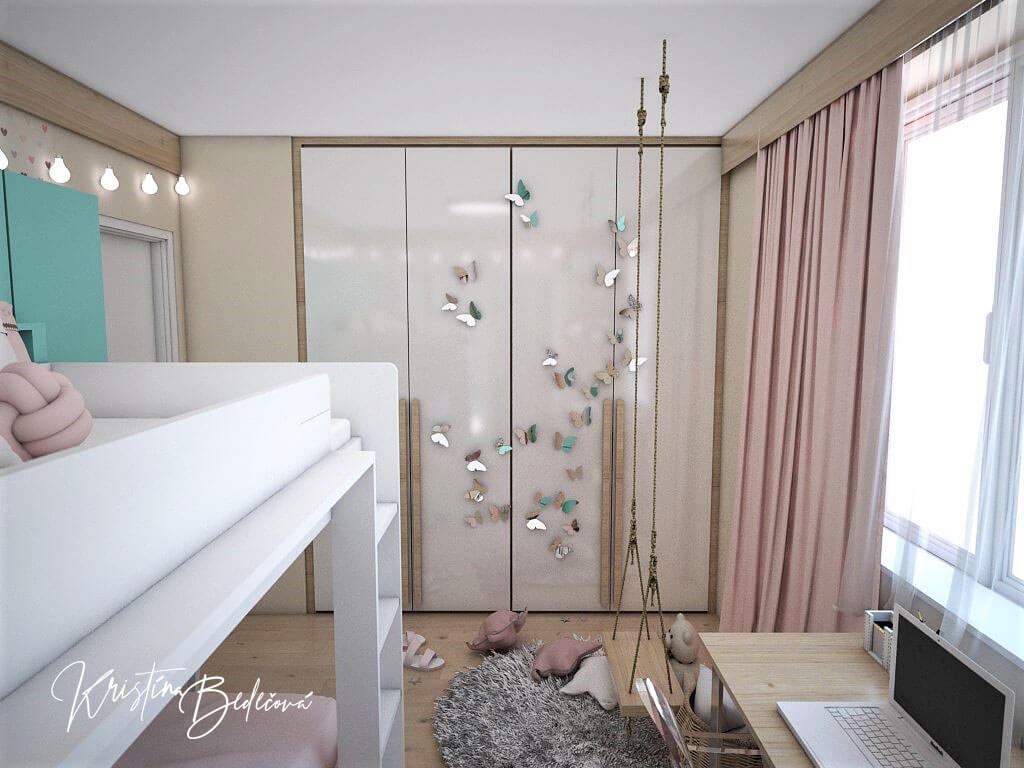 Návrh interiéru detskej izby Tyrkysová romantika, pohľad na skriňu