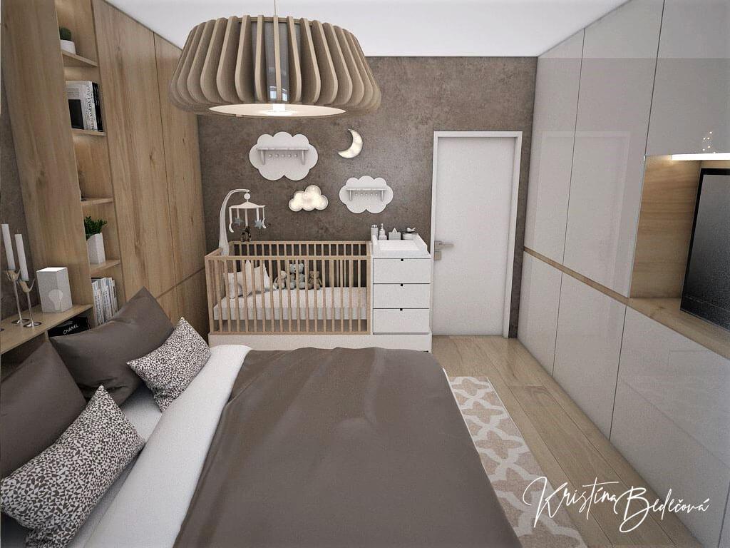 Návrh spálne Bábätko v spálni, pohľad na postielku pre bábätko