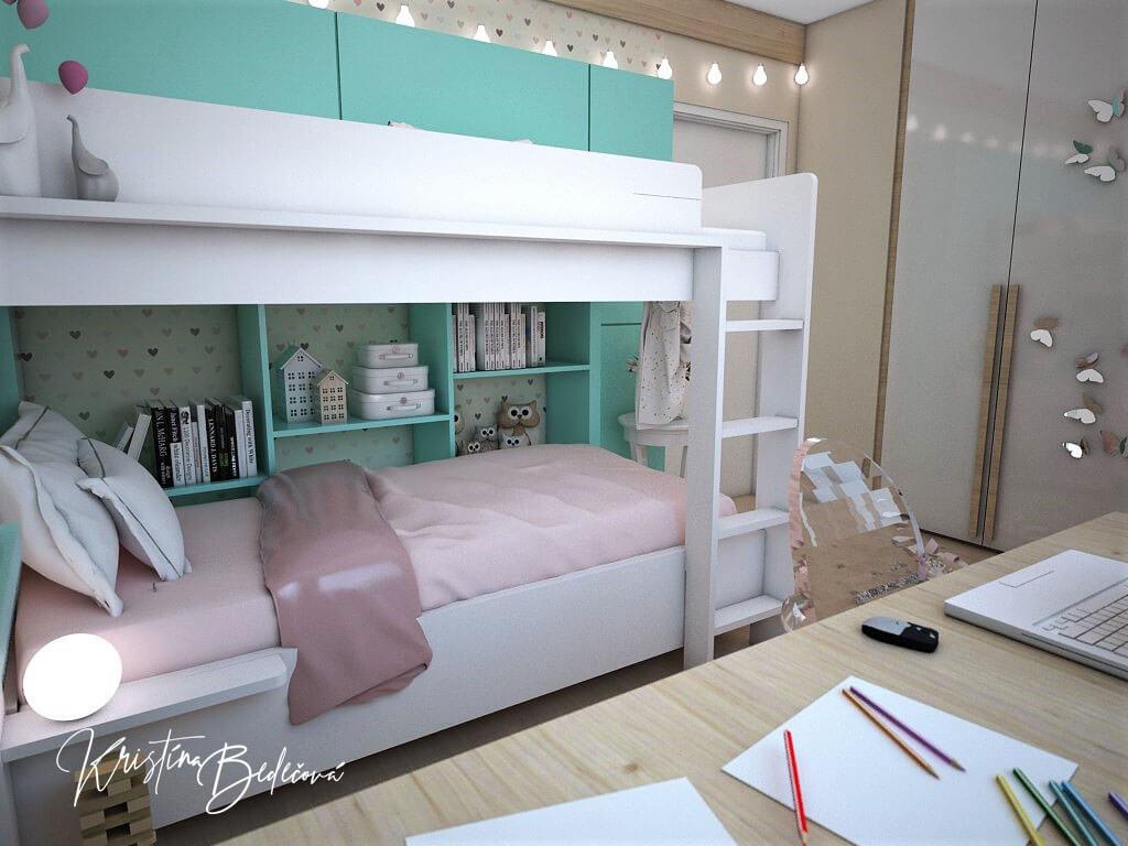 Návrh interiéru bytu Romantika v akcii, pohľad na poschodovú posteľ v detskej izbe