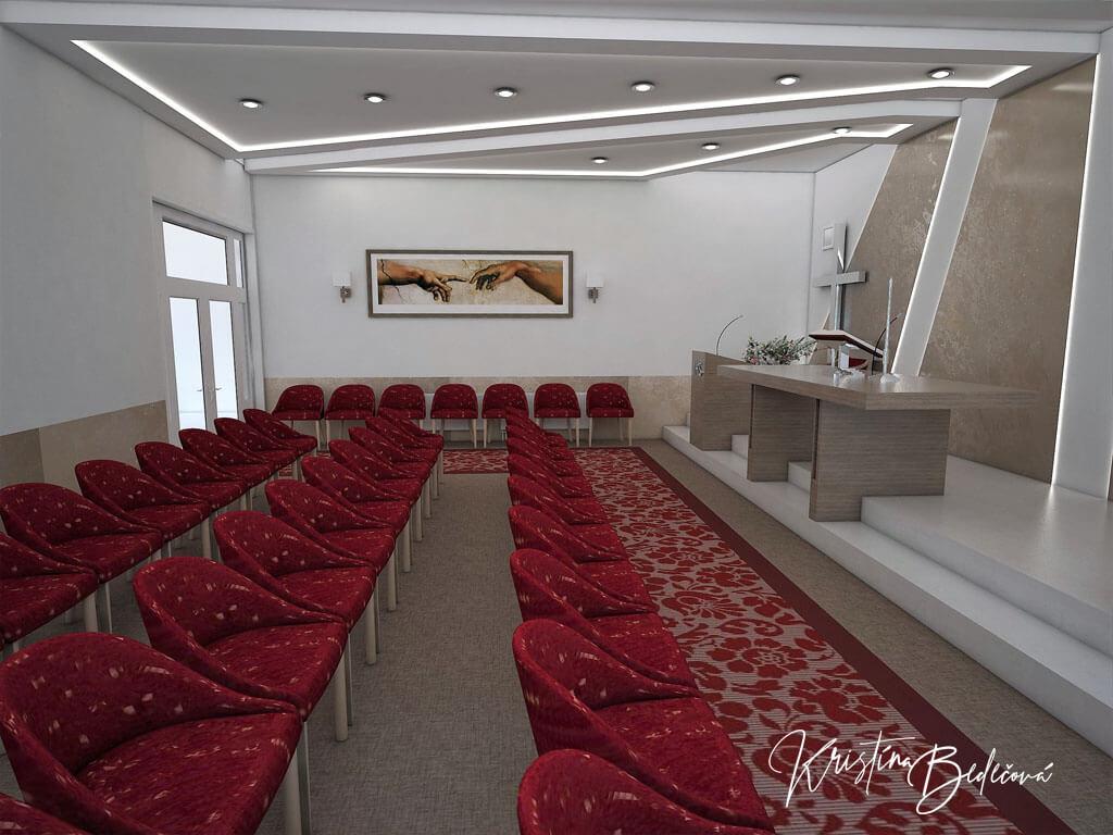 Návrh interiéru kaplnky Moderná kaplnka, pohľad na vstup do kaplnky