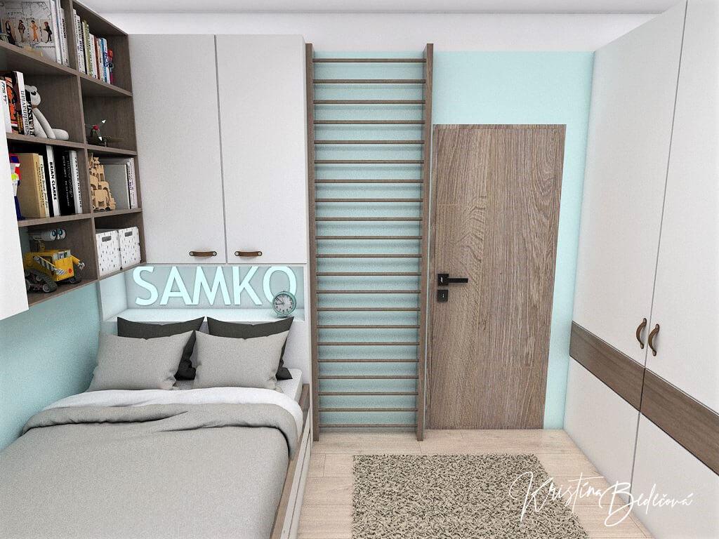Návrh interiéru detskej izby Samkova oáza, ďalší pohľad na vstup