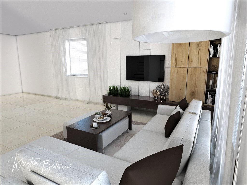 Návrh interiéru obývačky Úzka ale praktická, ďalší pohľa na televízor spoza sedačky