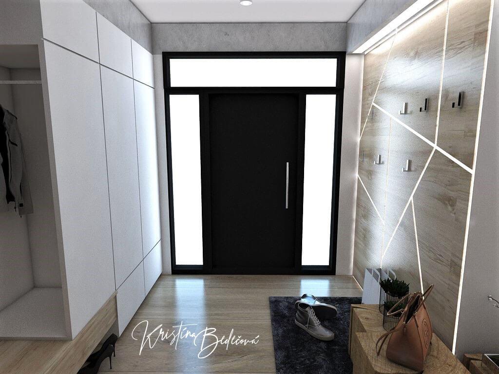 Návrh interiéru vstupnej chodby Vitajte, pohľad na led stenu a vstupné dvere
