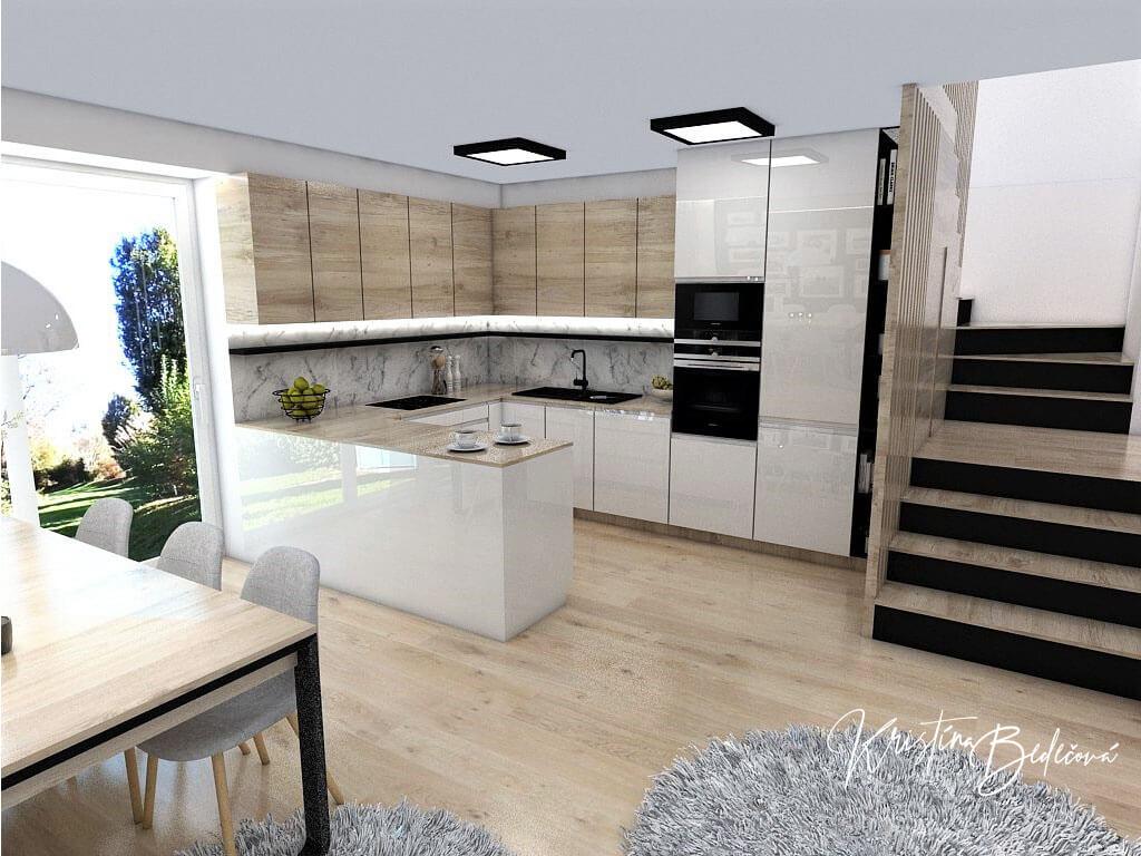Interiérový návrh kuchyne s obývačkou Po schodoch, pohľad na kuchynskú linku