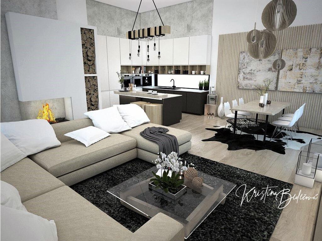 Návrh obývačky s kuchyňou Prírodné prvky v interiéri, pohľad cez obývačku do kuchyne