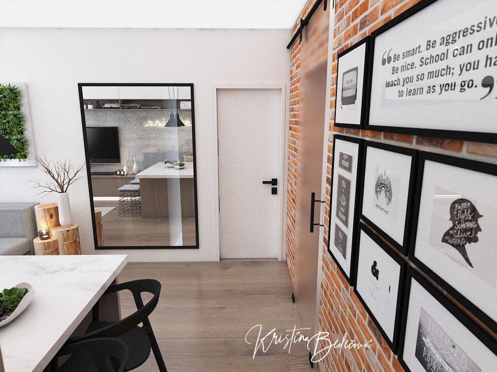 Návrh bytu Pánsky bauring, pohľad na vstup do spáľne