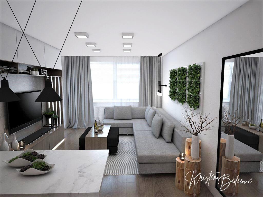 Návrh bytu Pánsky bauring, pohľad na obývačku