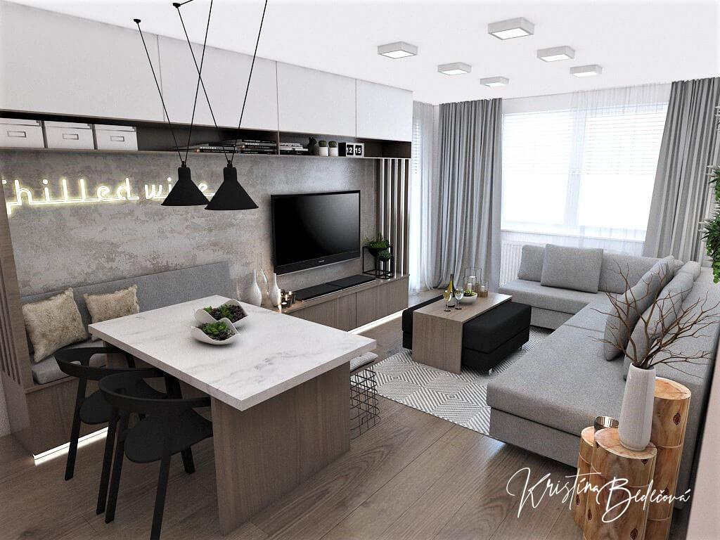 Návrh bytu Pánsky bauring, pohľad na balkón