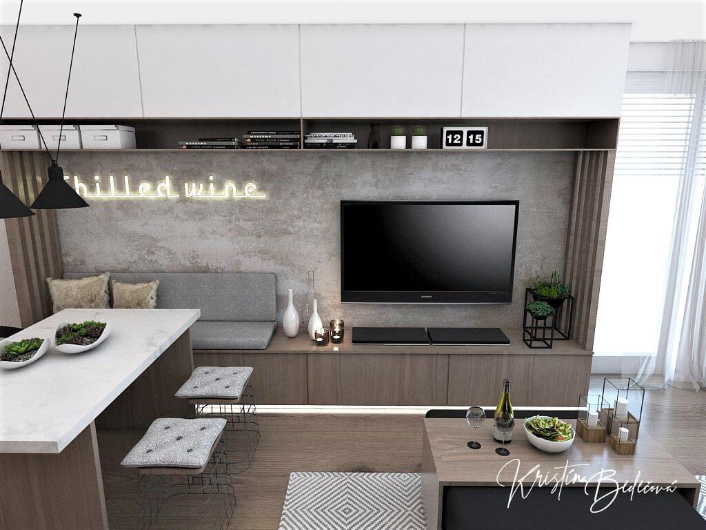 Návrh bytu Pánsky bauring, pohľad na TV