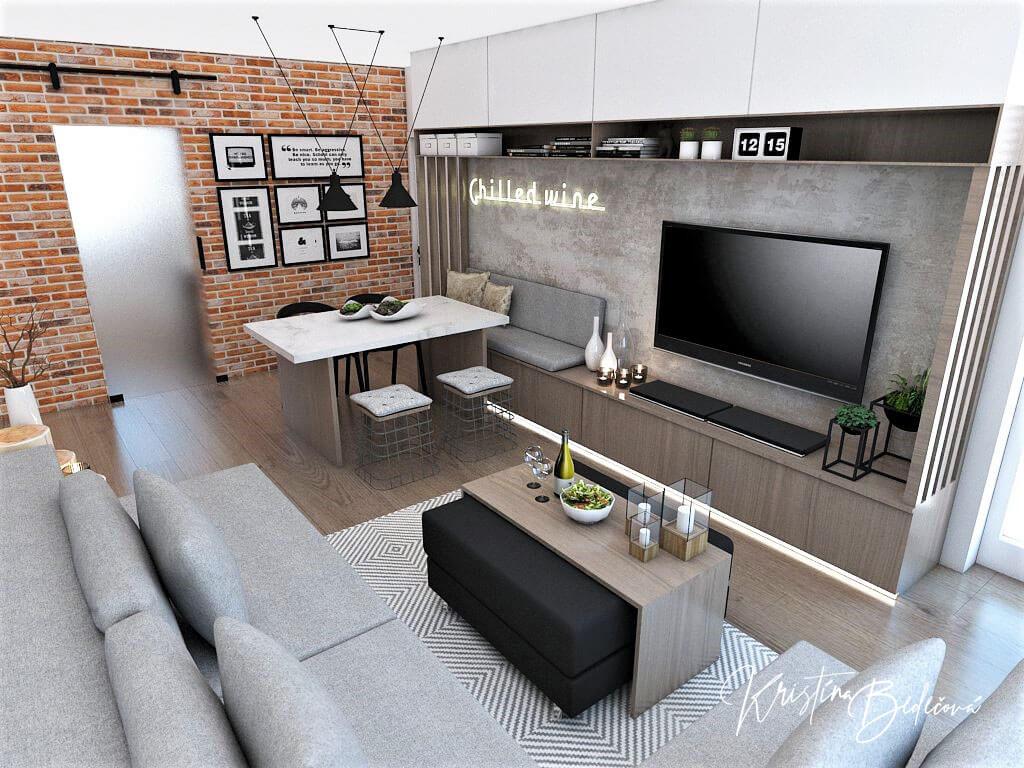 Návrh bytu Pánsky bauring, pohľad na jedálenský stôl