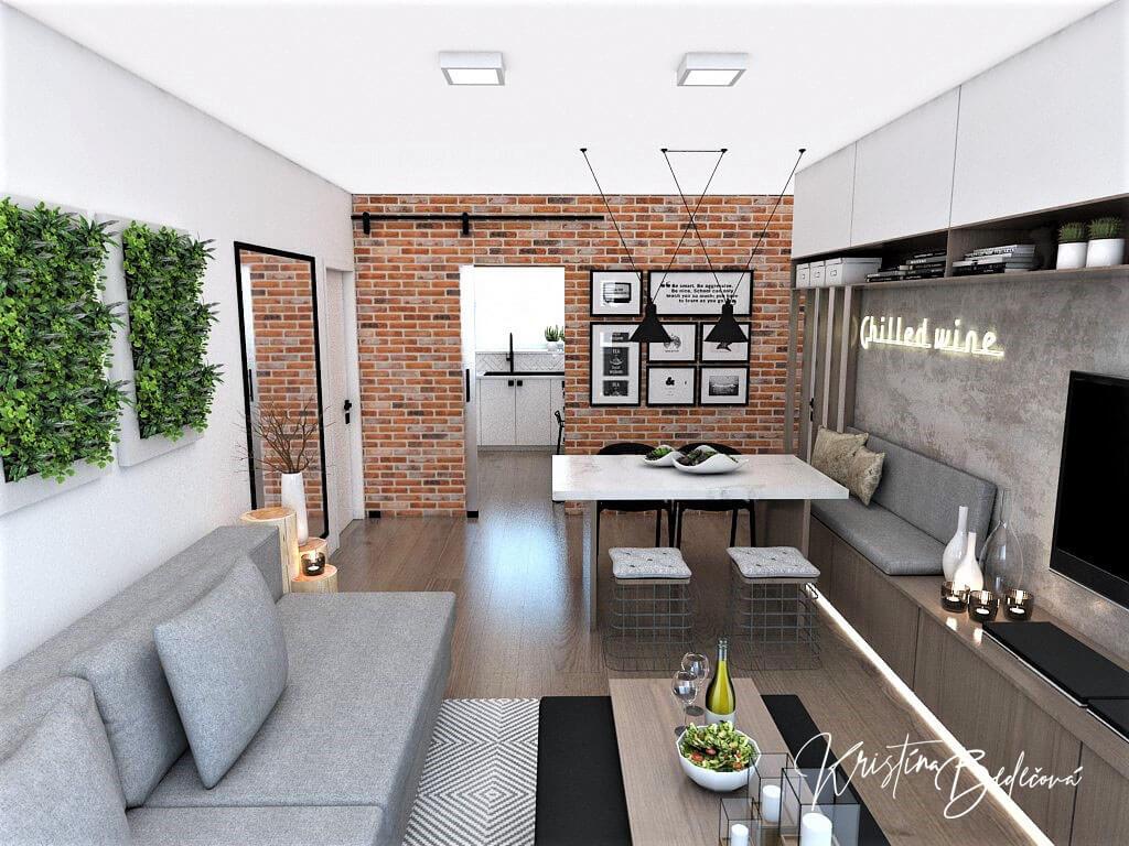 Návrh bytu Pánsky bauring, pohľad na vstup do kuchyne