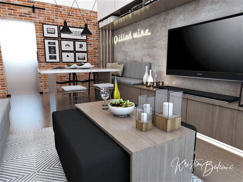 Návrh bytu Pánsky bauring, pohľad zo sedačky v obývačke