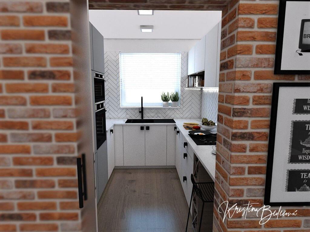 Návrh bytu Pánsky bauring, pohľad z dverí do kuchyne