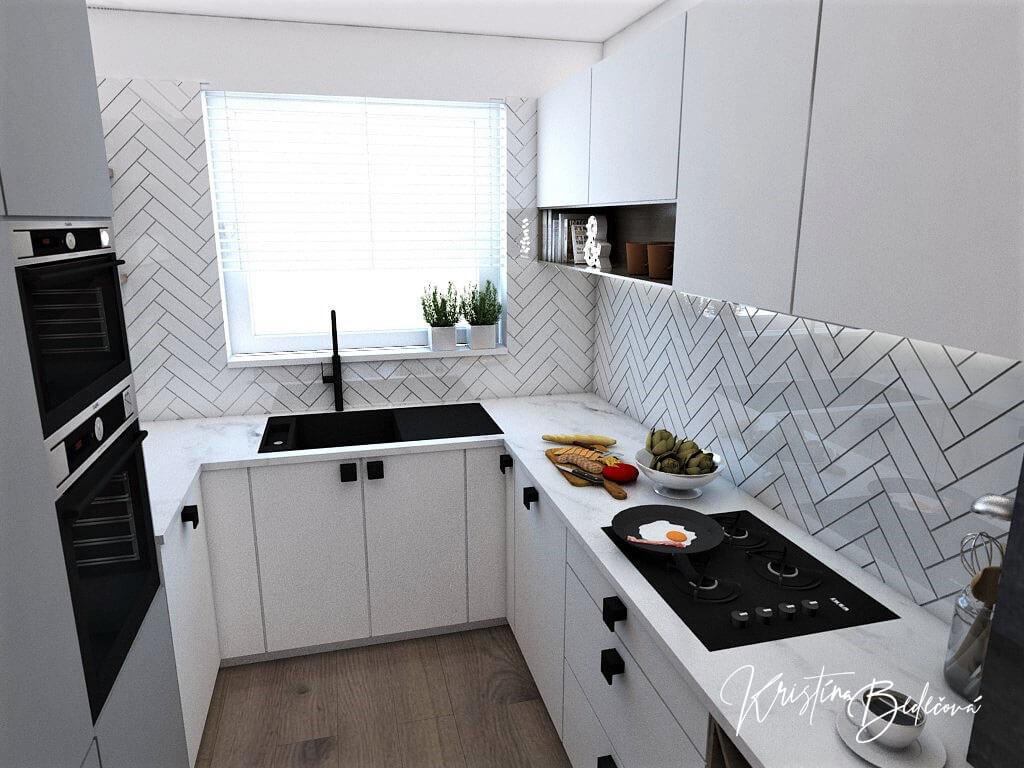 Návrh bytu Pánsky bauring, pohľad na kuchynskú linku