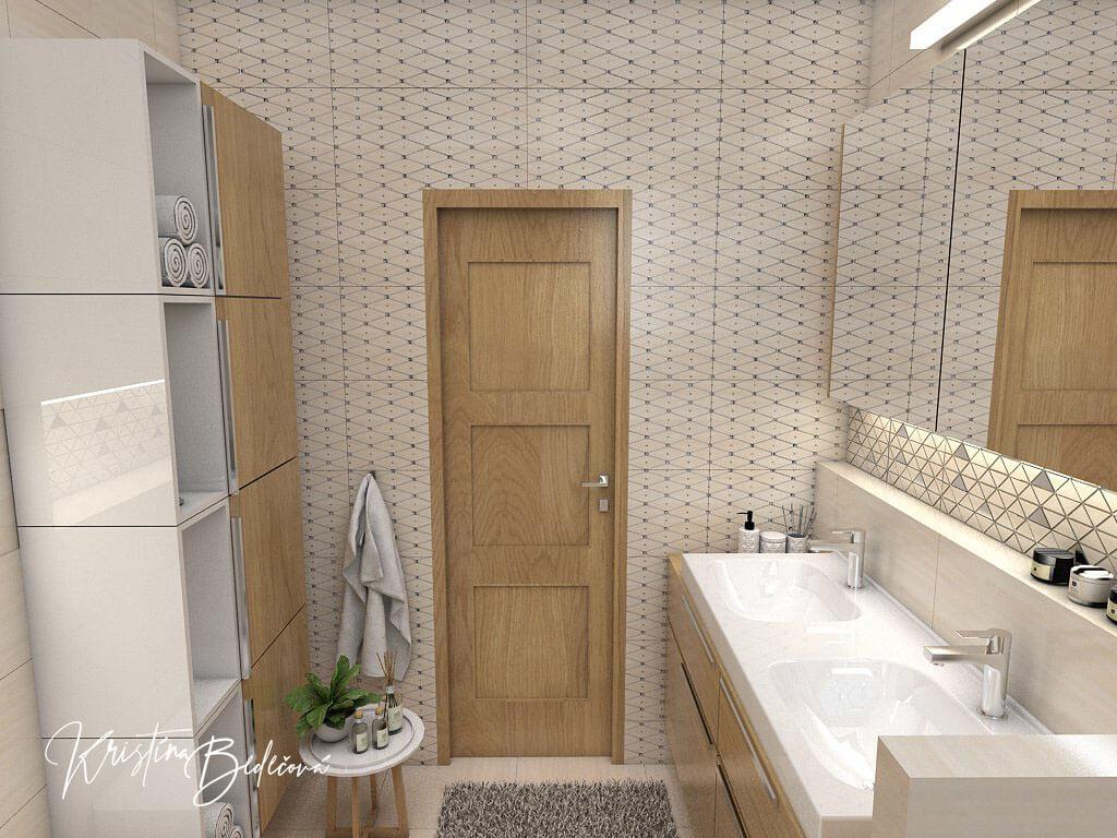 Návrh kúpeľne V novom šate, pohľad na dvere