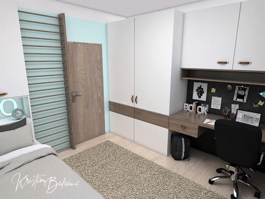 Návrh interiéru detskej izby Samkova oáza, pohľad na vstup