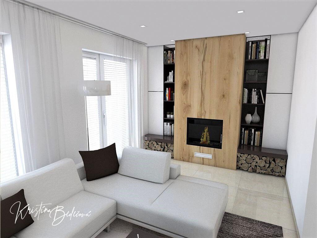 Návrh interiéru obývačky Úzka ale praktická, pohľad na krb a okno