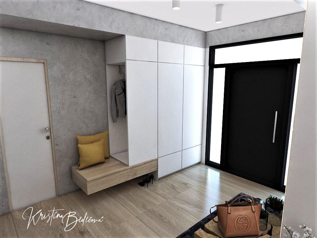Návrh interiéru vstupnej chodby Vitajte, pohľad na šatníkovú skriňu
