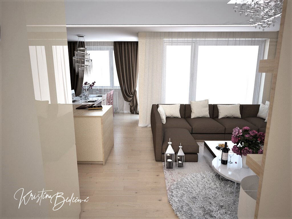 Návrh interiéru bytu Romantika v akcii, pohľad do obývačky a kuchyne
