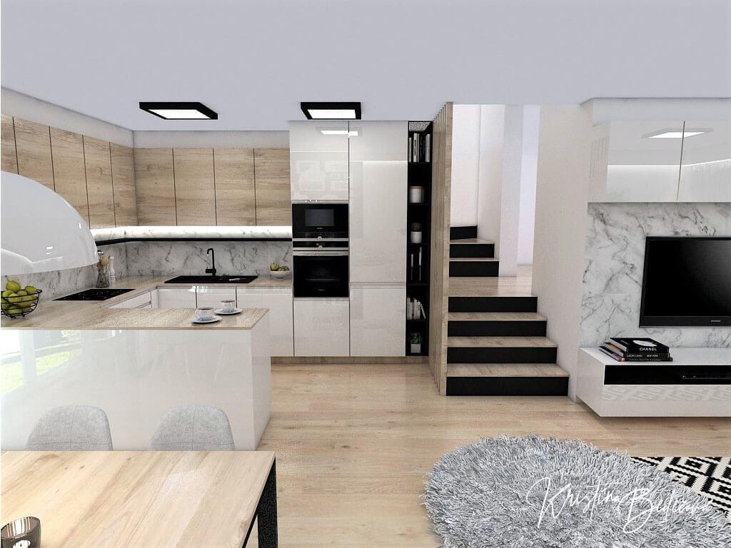 Interiérový návrh kuchyne s obývačkou Po schodoch, pohľad na schodisko