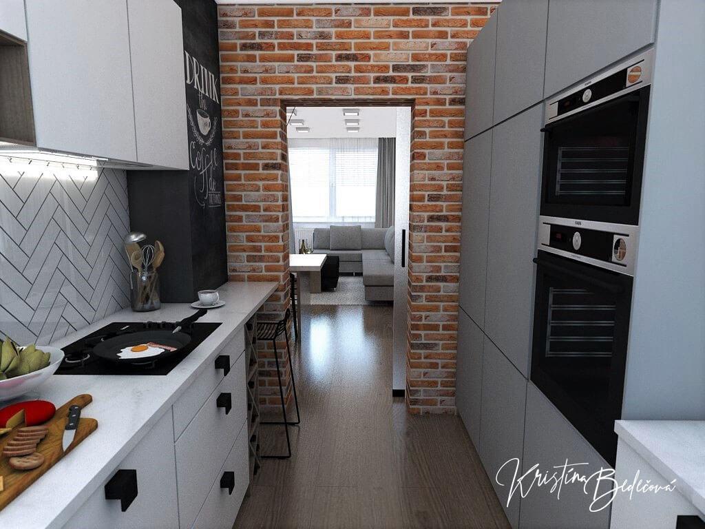 Návrh bytu Pánsky bauring, pohľad na dvere kuchyne - otvorené