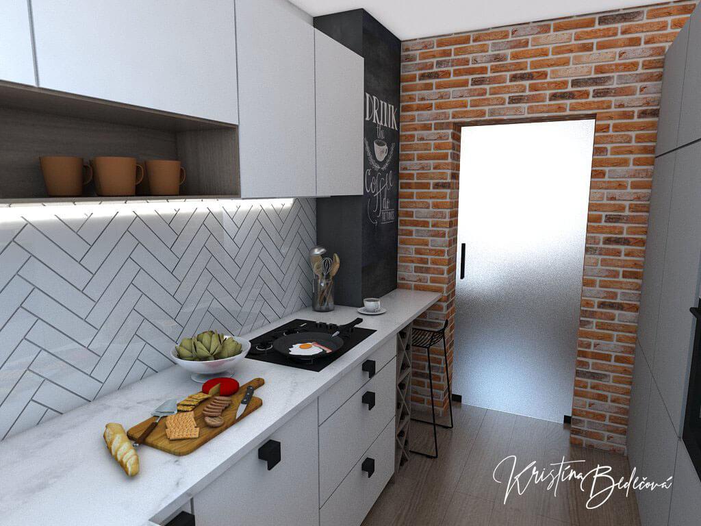 Návrh bytu Pánsky bauring, pohľad na dvere kuchyne - zatvorené