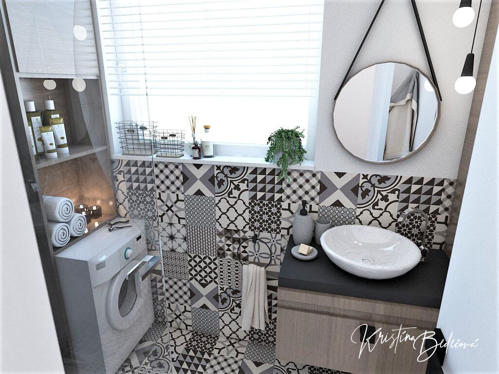 Návrh bytu Pánsky bauring, pohľad na umývadlo v kúpeľni