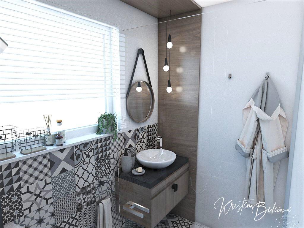 Návrh bytu Pánsky bauring, pohľad na zrkadlo v kúpeľni