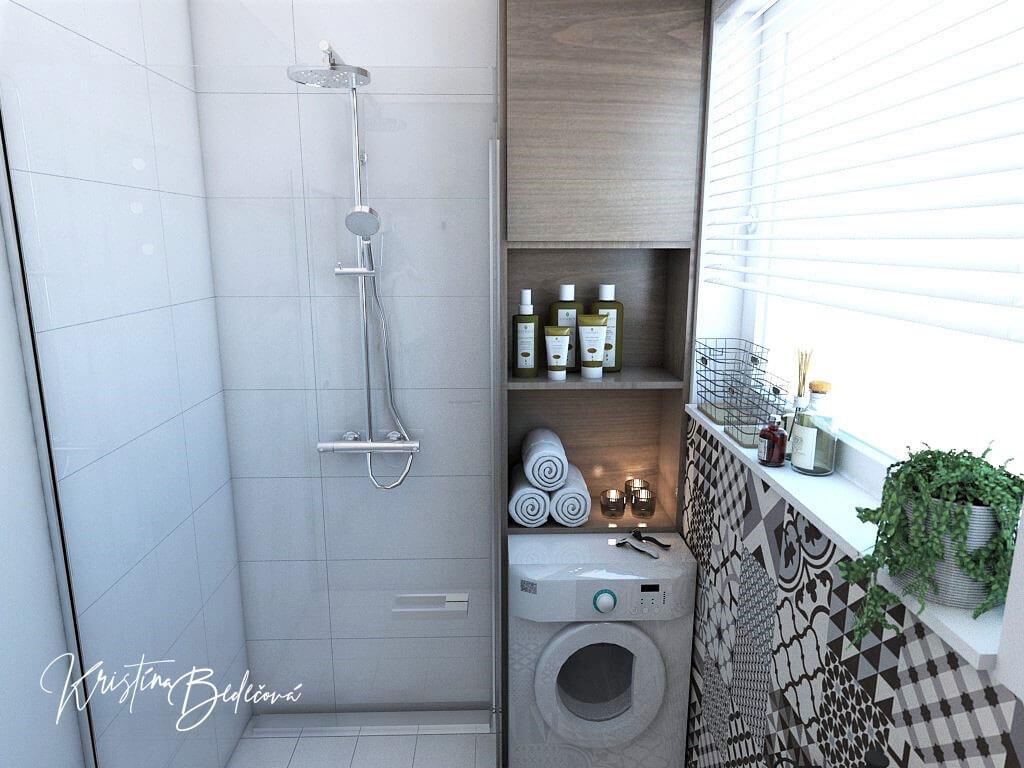Návrh bytu Pánsky bauring, pohľad na sprchový kút v kúpeľni