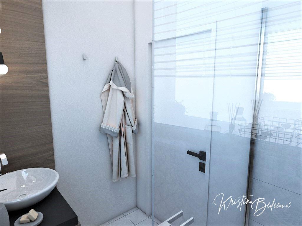 Návrh bytu Pánsky bauring, pohľad na dvere v kúpeľni