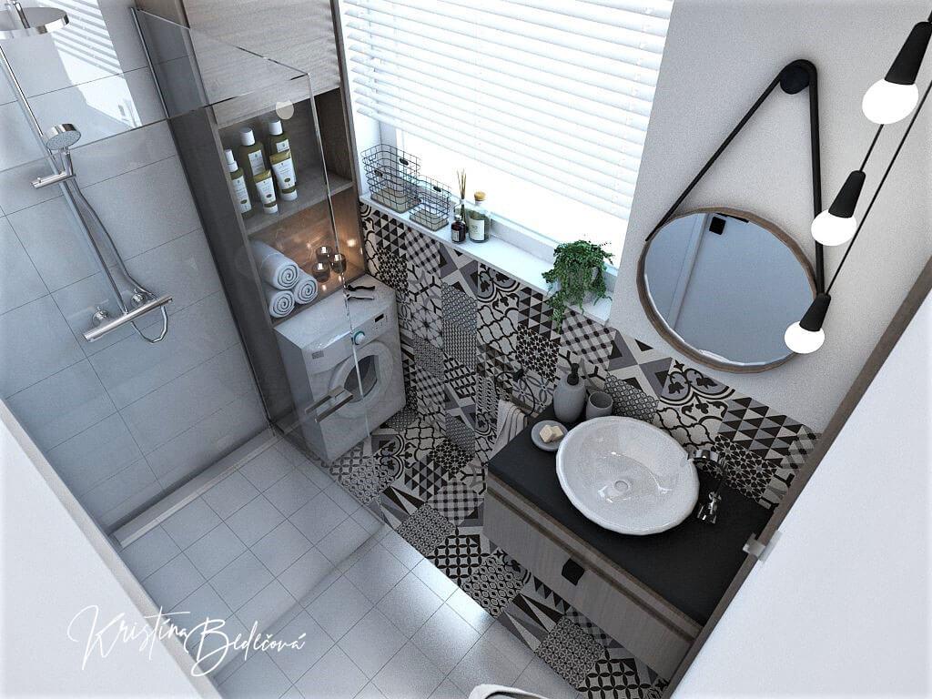 Návrh bytu Pánsky bauring, pohľad na kúpeľnu zvrchu