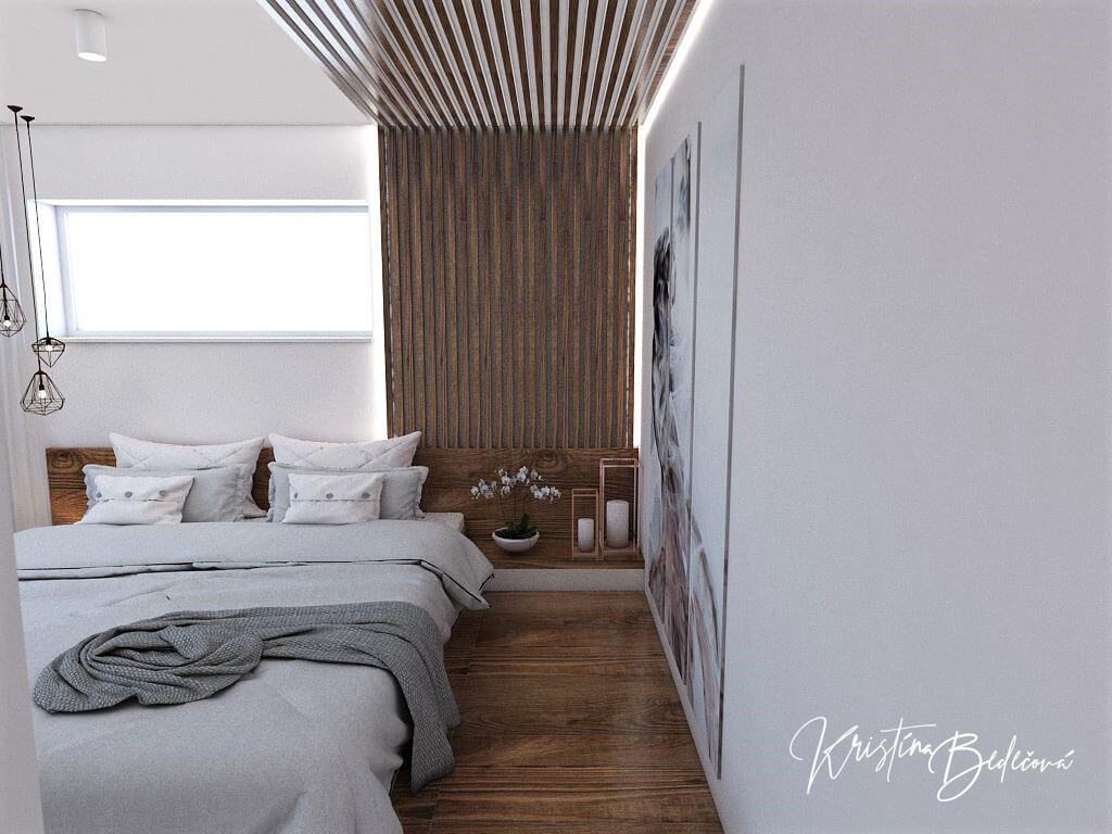 Návrh interiéru spálne Ružové pohladenie pohľad vedľa manželskej postele