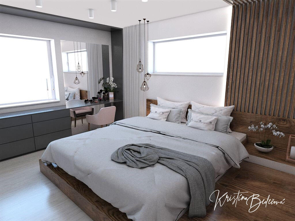 Návrh interiéru spálne Ružové pohladenie pohľad na manželskú posteľ