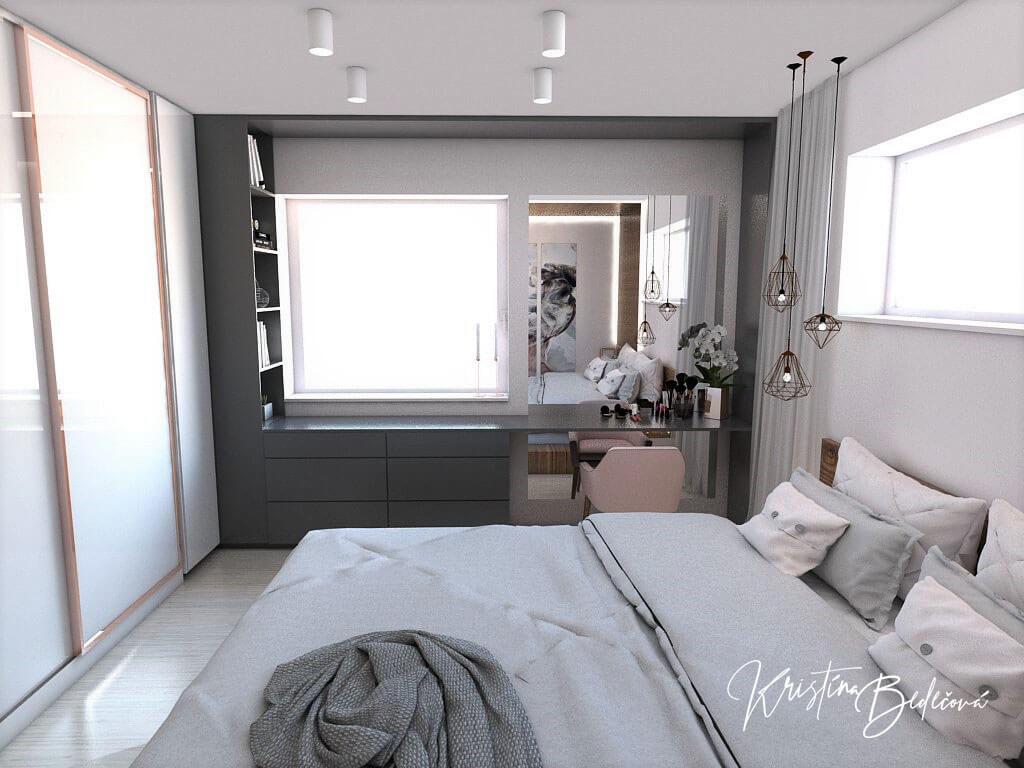 Návrh interiéru spálne Ružové pohladenie pohľad cez manželskú posteľ na okno