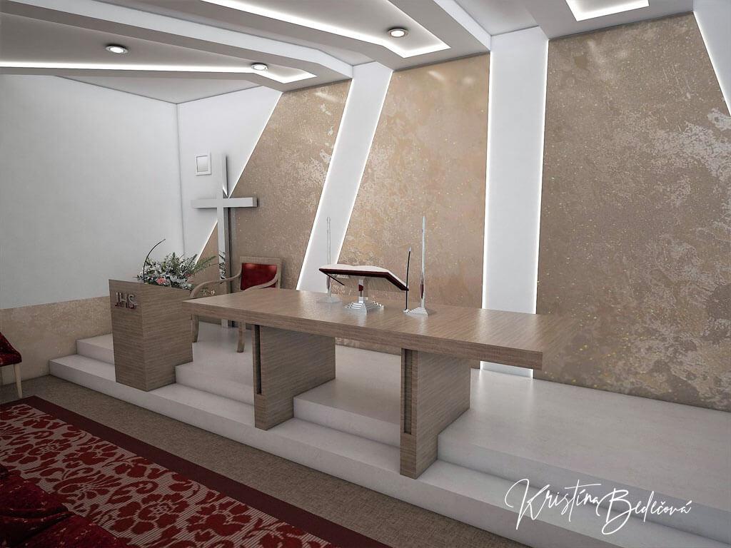 Návrh interiéru kaplnky Moderná kaplnka, pohľad na oltár