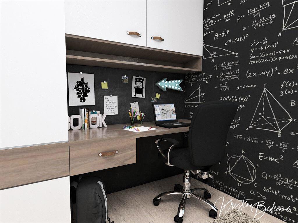 Návrh interiéru detskej izby Samkova oáza, pohľad na pracovnú časť